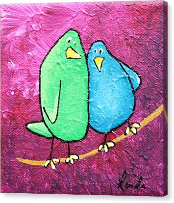 Limb Birds - Green And Turq Canvas Print by Linda Eversole