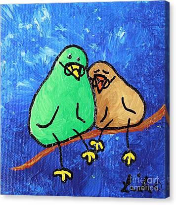 Limb Birds - Lasting Love Canvas Print by Linda Eversole