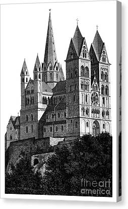 Limburg Cathedral Beautiful Detailed Woodblock Print Canvas Print by Christos Georghiou