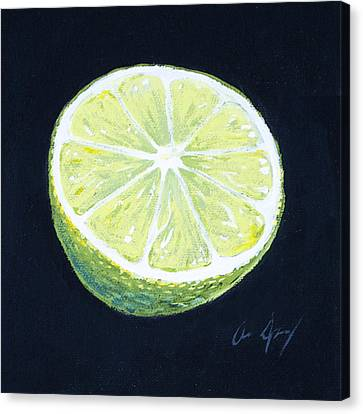Sour Canvas Print - Lime by Aaron Spong