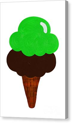 Tasting Canvas Print - Lime And Chocolate Ice Cream by Andee Design