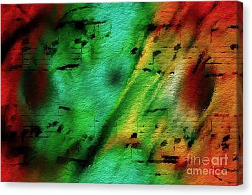 Canvas Print featuring the digital art Lime And Orange Counterpoint by Lon Chaffin