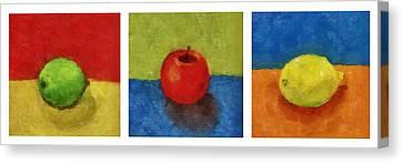 Lime Apple Lemon Canvas Print by Michelle Calkins