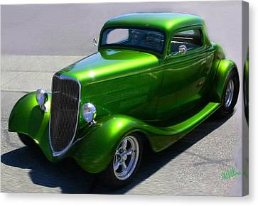 Lime Green Auto  Canvas Print by Mary M Collins