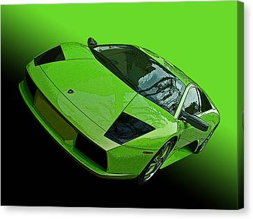 Lime Green Lamborghini Murcielago Canvas Print by Samuel Sheats
