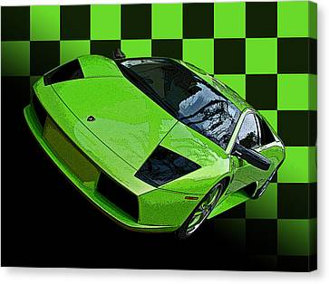 Lime Green Lamborghini Murcielago With Checkerboard Canvas Print by Samuel Sheats