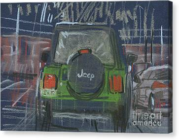 Canvas Print featuring the painting Lime Jeep by Donald Maier