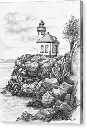 Lime Kiln Lighthouse Canvas Print by Kim Lockman