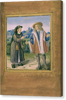 Limping In Front Of A Lame Person Canvas Print by British Library