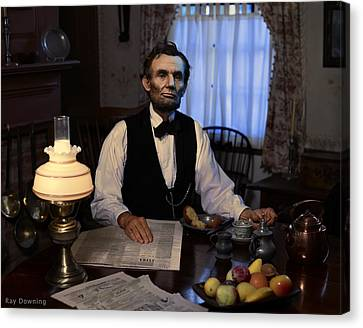 Lincoln Drawings Canvas Print - Lincoln At Breakfast 2 by Ray Downing