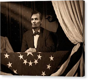 Lincoln Drawings Canvas Print - Lincoln At Fords Theater by Ray Downing