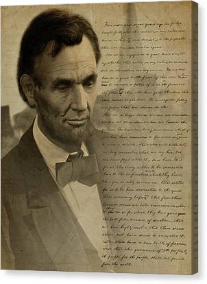 Lincoln Drawings Canvas Print - Lincoln At Gettysburg by Ray Downing
