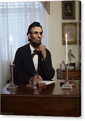 Lincoln Drawings Canvas Print - Lincoln At His Desk 2 by Ray Downing
