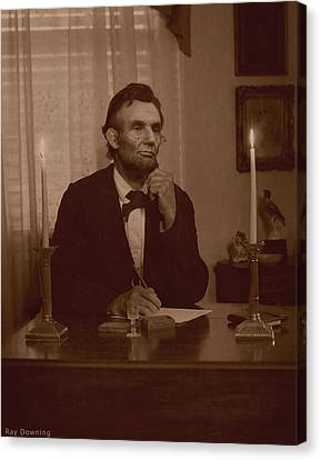 Lincoln Drawings Canvas Print - Lincoln At His Desk by Ray Downing