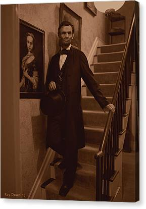 Lincoln Drawings Canvas Print - Lincoln Descending Staircase by Ray Downing