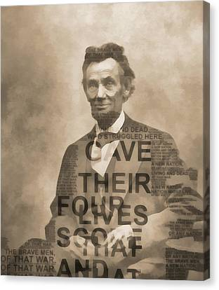 Lincoln Gettysburg Address Typography Canvas Print