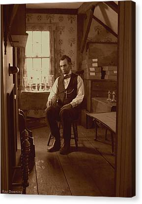 Lincoln Drawings Canvas Print - Lincoln In The Attic by Ray Downing
