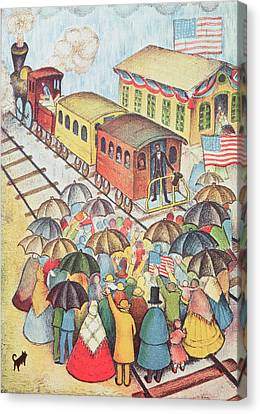 Lincoln Leaving Springfield, Illinois By Train Pastel On Paper Canvas Print by American School