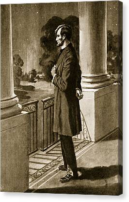 Full-length Portrait Canvas Print - Lincoln Looks Out From The White House by American School