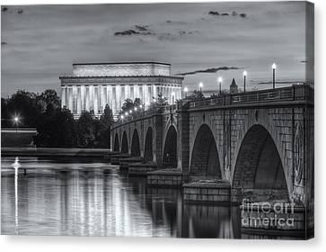 Lincoln Memorial And Arlington Memorial Bridge At Dawn II Canvas Print by Clarence Holmes