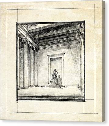 Historic Architecture Canvas Print - Lincoln Memorial Sketch IIi by Gary Bodnar