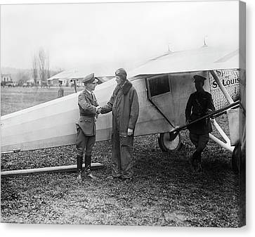 Lindbergh And 'spirit Of St Louis' Canvas Print by Library Of Congress