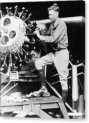 Lindbergh Tunes Up Plane Canvas Print