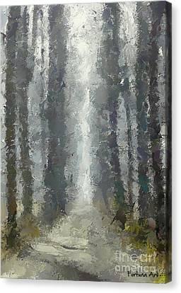 Foggy Day Digital Art Canvas Print - Linden Alley by Dragica  Micki Fortuna