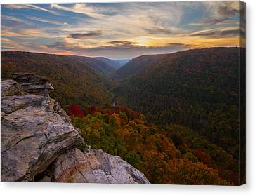 Lindy Point Sunset At Blackwater Falls In West Virginia Canvas Print by Jetson Nguyen