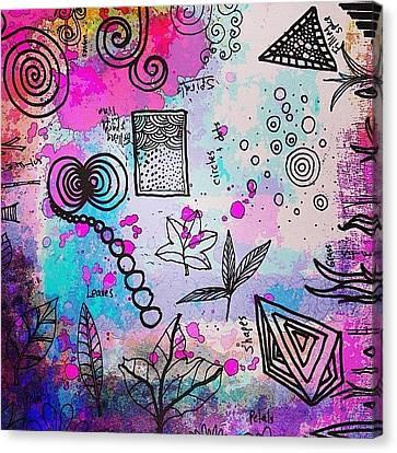 #line #color #shape #design #doodles Canvas Print by Robin Mead