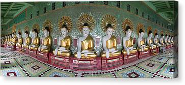 Line Of Buddhas At Umin Thounzeh Temple Canvas Print