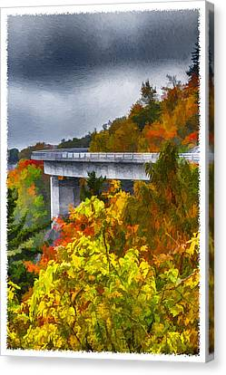 Linn Cove Viaduct Fall Painting Canvas Print by John Haldane