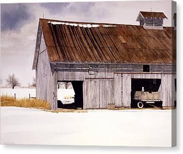 Lin's Barn Canvas Print by Tom Wooldridge