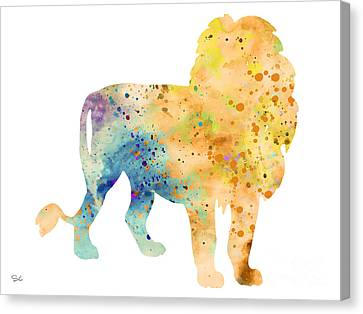 Lion 3 Canvas Print by Watercolor Girl