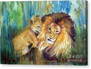 Lion And Cub -2 Canvas Print