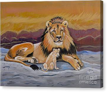 Canvas Print featuring the painting Lion And Cub by Phyllis Kaltenbach