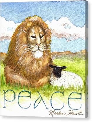 Lion And Lamb - Peace  Canvas Print