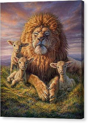 Lions Canvas Print - Lion And Lambs by Phil Jaeger