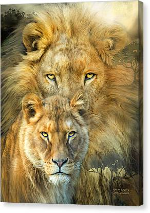 Lions Canvas Print - Lion And Lioness- African Royalty by Carol Cavalaris