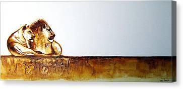 Lion And Lioness - Original Artwork Canvas Print