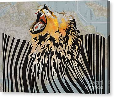 Lion Canvas Print - Lion Barcode by Sassan Filsoof