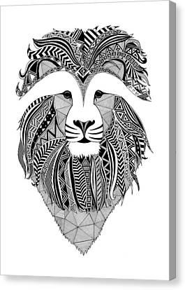 Lion Dark Africa Canvas Print by Art Et Be