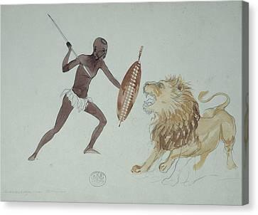 Lion Hunting, Artwork Canvas Print