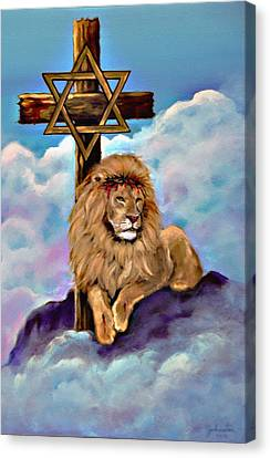 Canvas Print featuring the painting Lion Of Judah At The Cross by Bob and Nadine Johnston