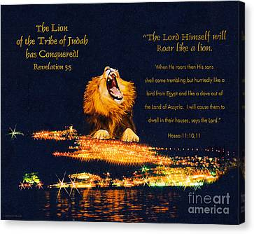 Lion Of Judah Has Conquered Canvas Print by Constance Woods