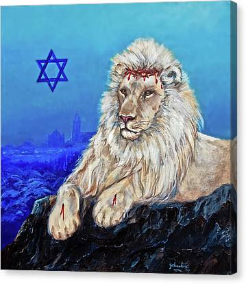 Canvas Print featuring the painting Lion Of Judah - Jerusalem by Bob and Nadine Johnston