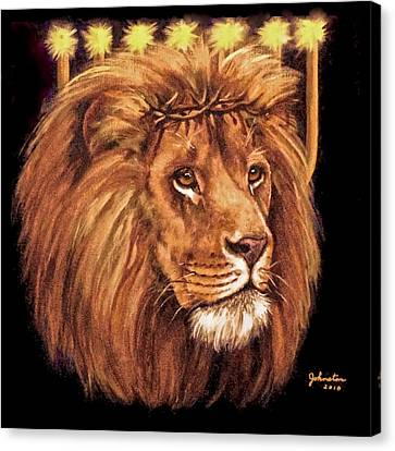 Canvas Print featuring the painting Lion Of Judah - Menorah by Bob and Nadine Johnston
