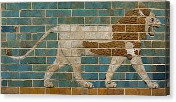 Archaeology Canvas Print - Lion Relief From The Processional Way In Babylon by Babylonian