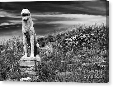 Ancient Greek Ruins Canvas Print - Lion Ruins On Delos Island by John Rizzuto
