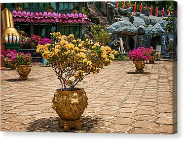 Lion Vases At Golden Temple In Dambulla Canvas Print by Jenny Rainbow